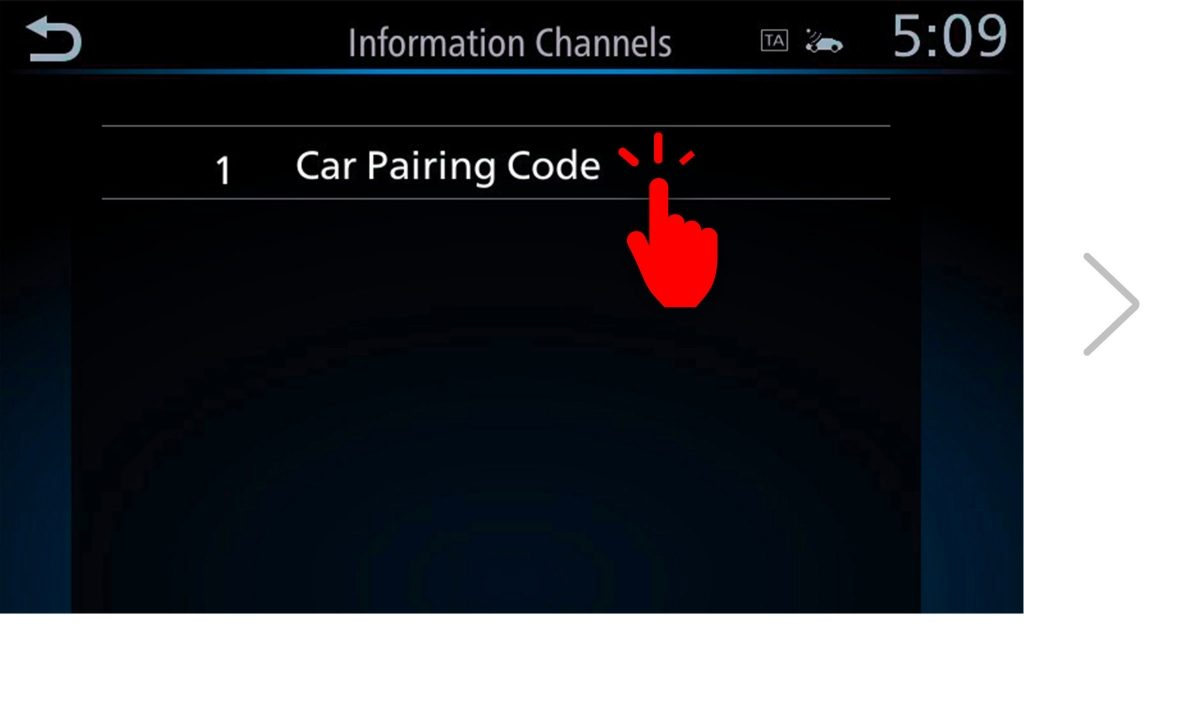 NissanConnect Services pairing code screen 5