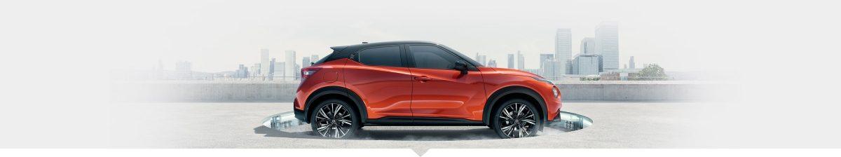 Nissan JUKE profile view on a futuristic platform