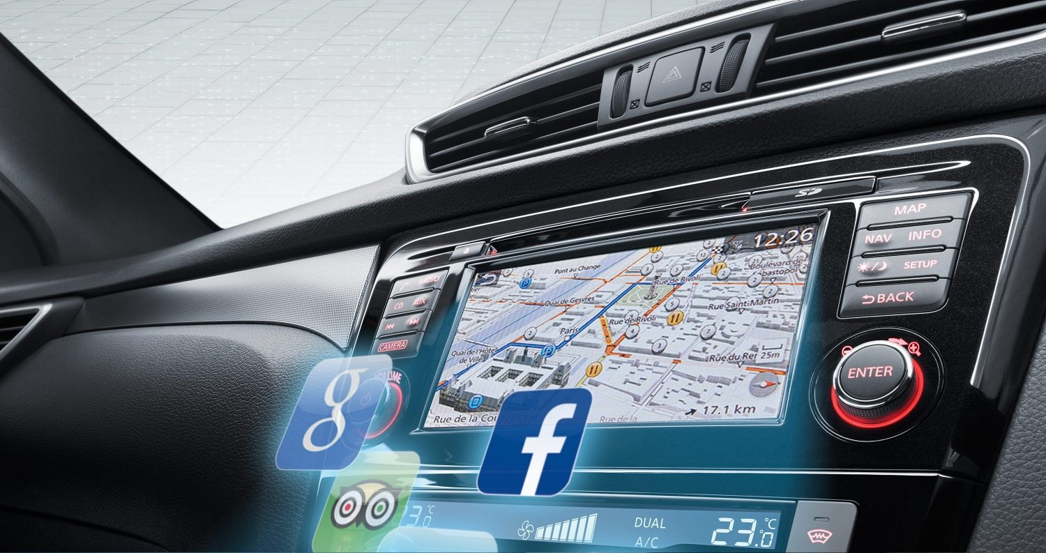 Nissan Qashqai interior view of the screen with social media icons