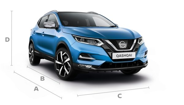 Nissan Qashqai 3/4 front with lines showing dimensions