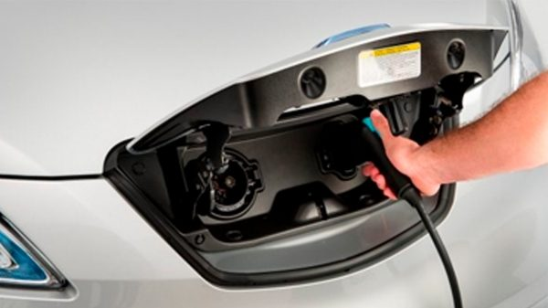 New Nissan e-NV200 Evalia detail shot of the charging plug on the car