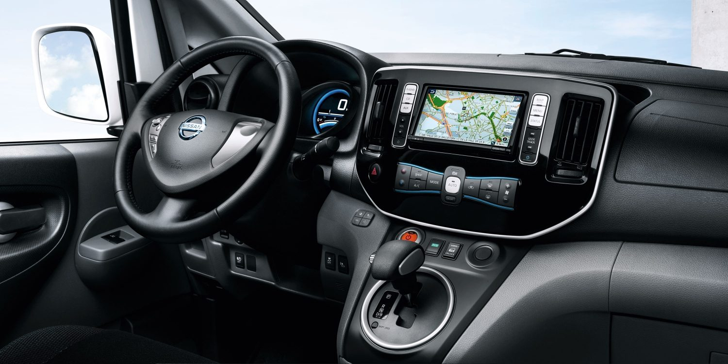 New Nissan e-NV200 Evalia interior view focus on the console and the steering wheel