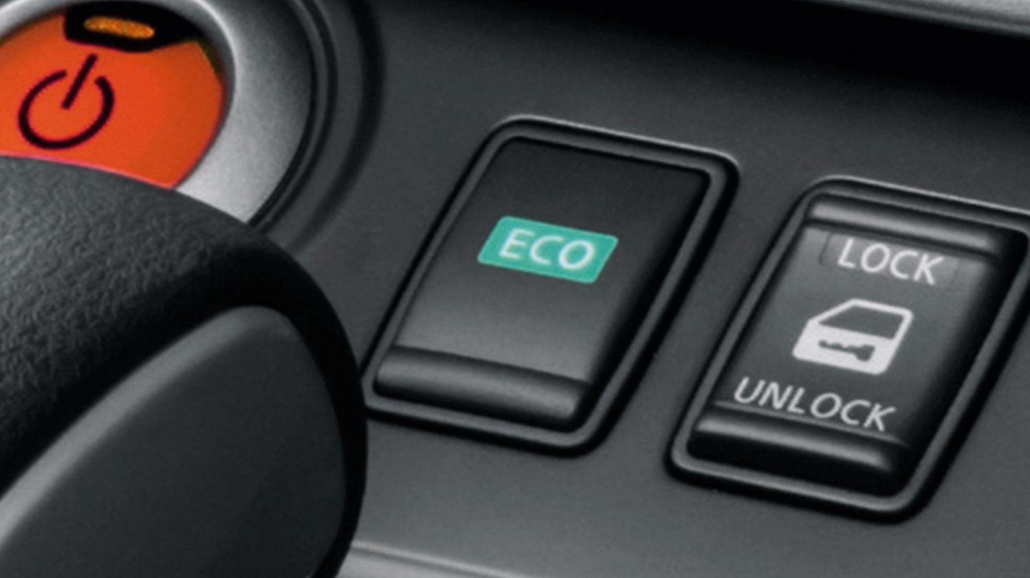 New Nissan e-NV200 Evalia detail shot of eco mode button