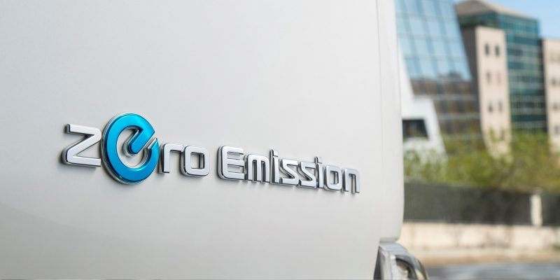 New Nissan e-NV200 Evalia detail shot of the zero emission logo