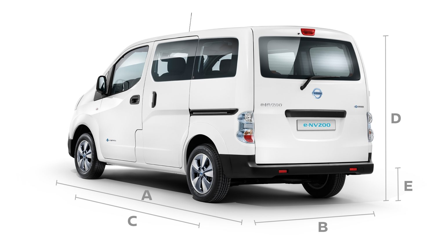 New Nissan e-NV200 Evalia 3/4 rear with lines to show dimensions