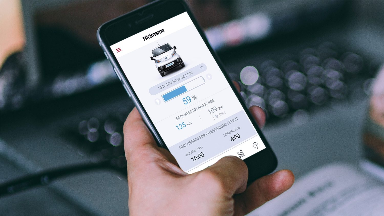 New Nissan e-NV200 Nissanconnect ev app screen on smartphone