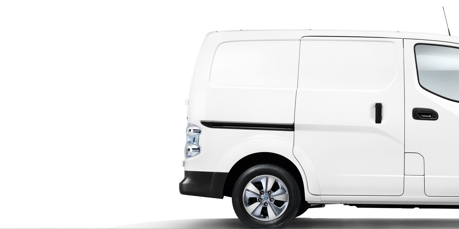 New Nissan e-NV200 profile with view on the rear part of the car
