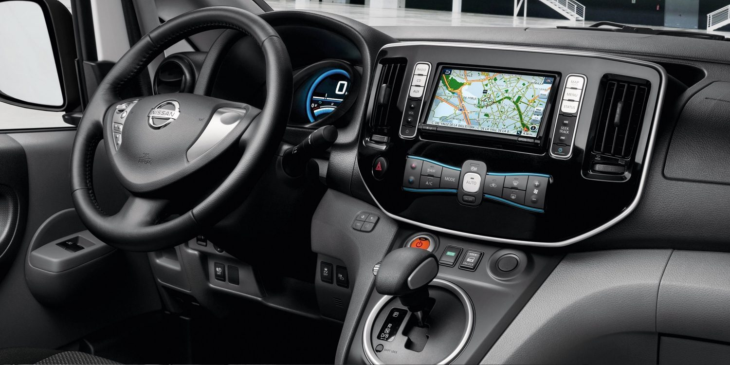 New Nissan e-NV200 interior view focus on the console and the steering wheel