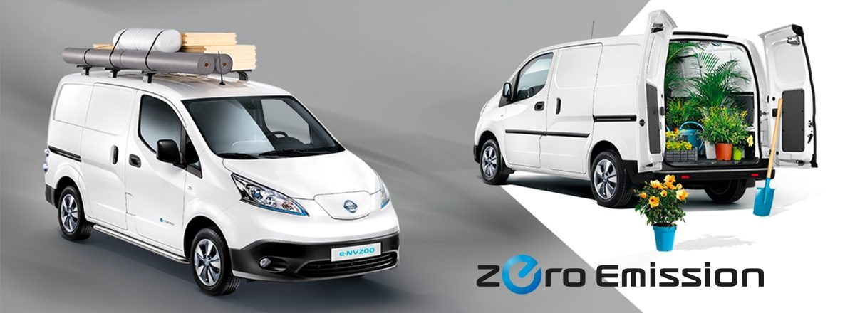 New Nissan e-NV200 composition with a 3/4 front on the left with materials on the roof and a 3/4 rear on the left with rear doors open and flowers in the cargo