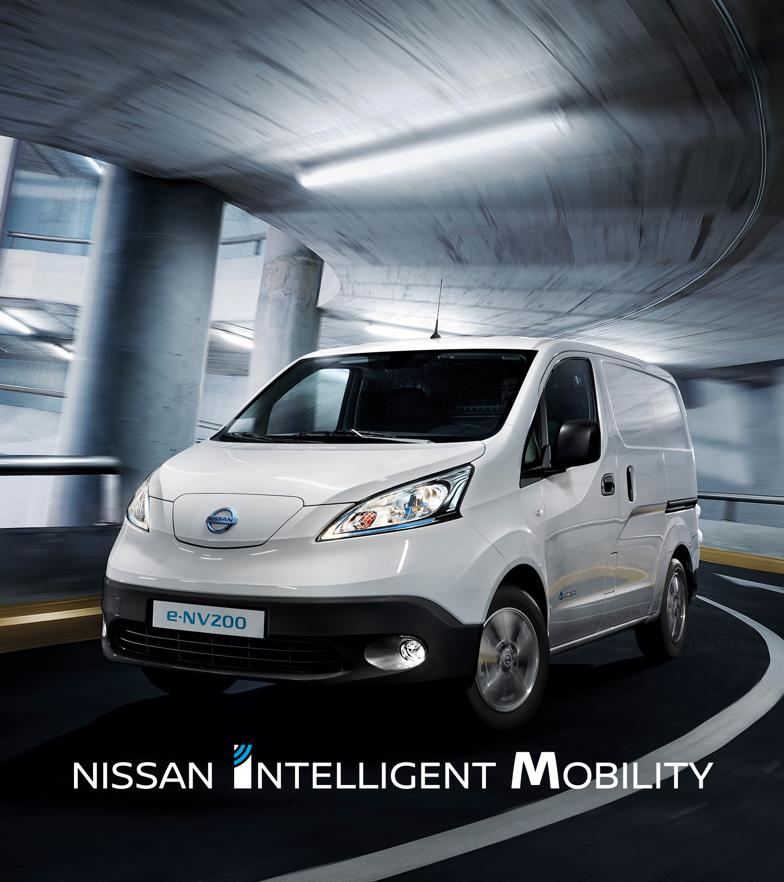 New Nissan e-NV200 driving in a parking