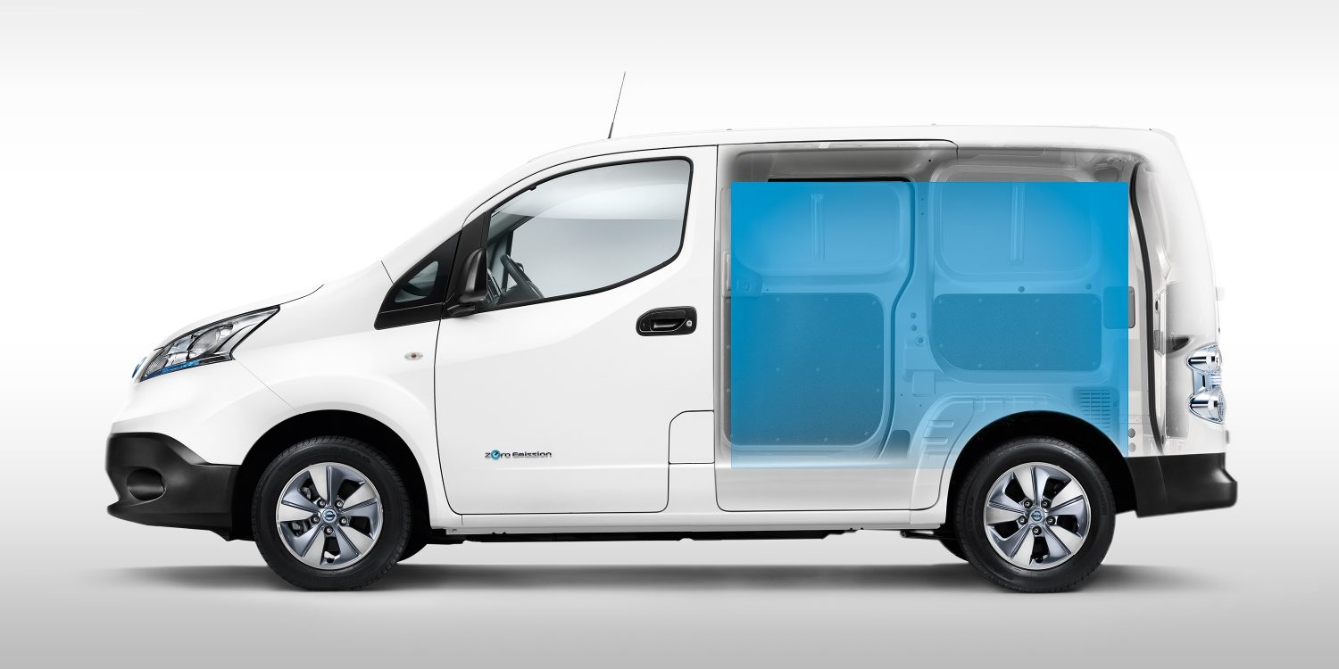 New Nissan e-NV200 3/4 profile with ghost effect to show the cargo space