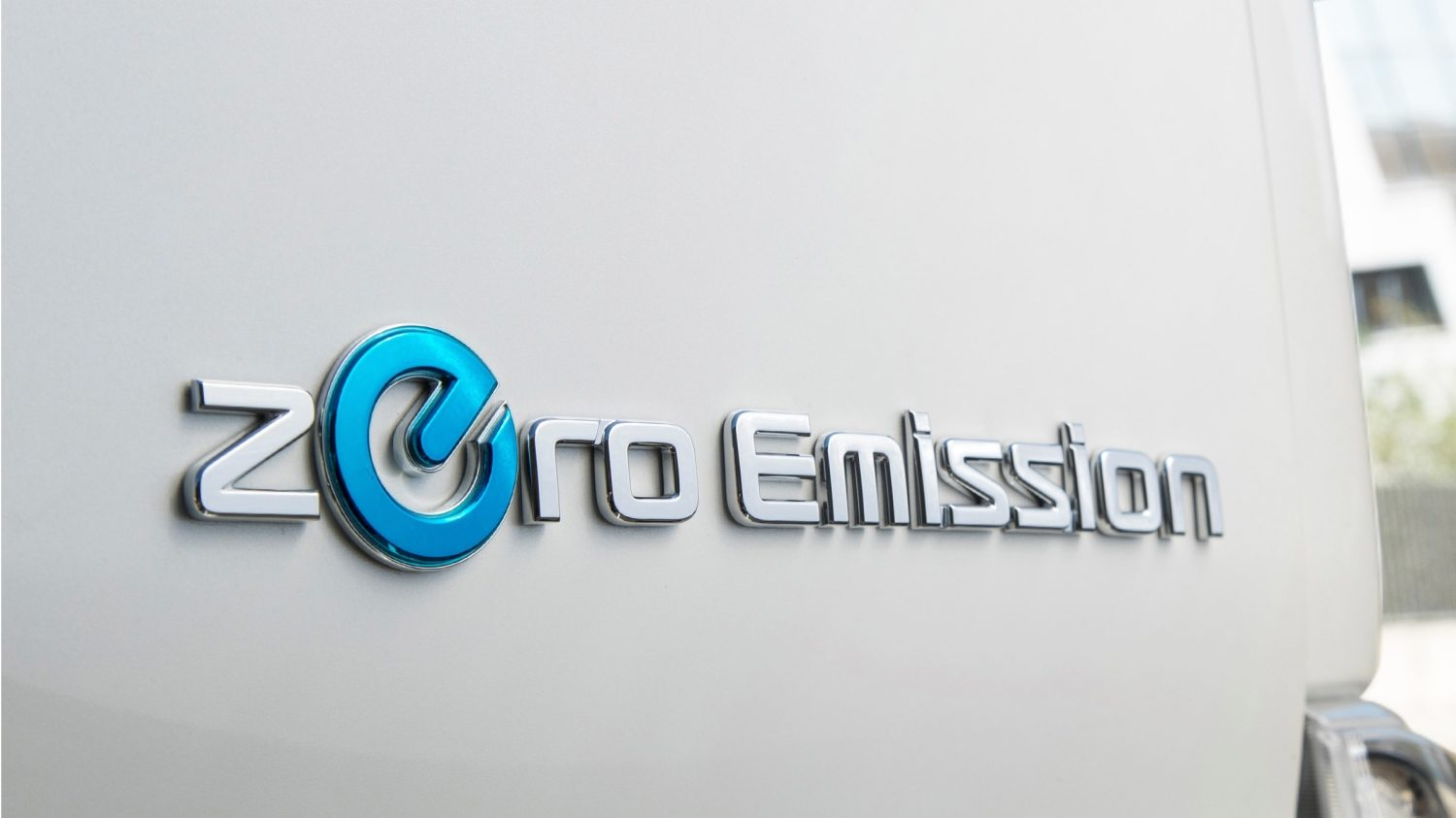 New Nissan e-NV200 detail shot of the zero emission logo