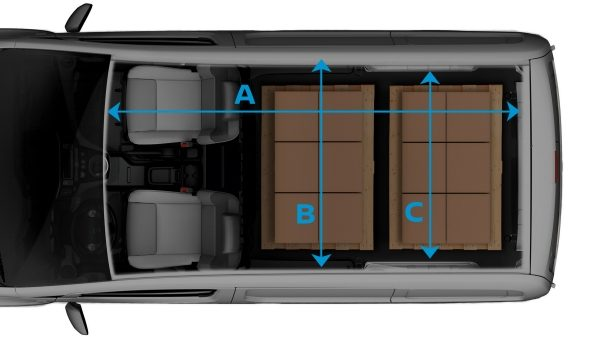 New Nissan e-NV200 top view with ghost effect on the cargo and lines to show dimensions