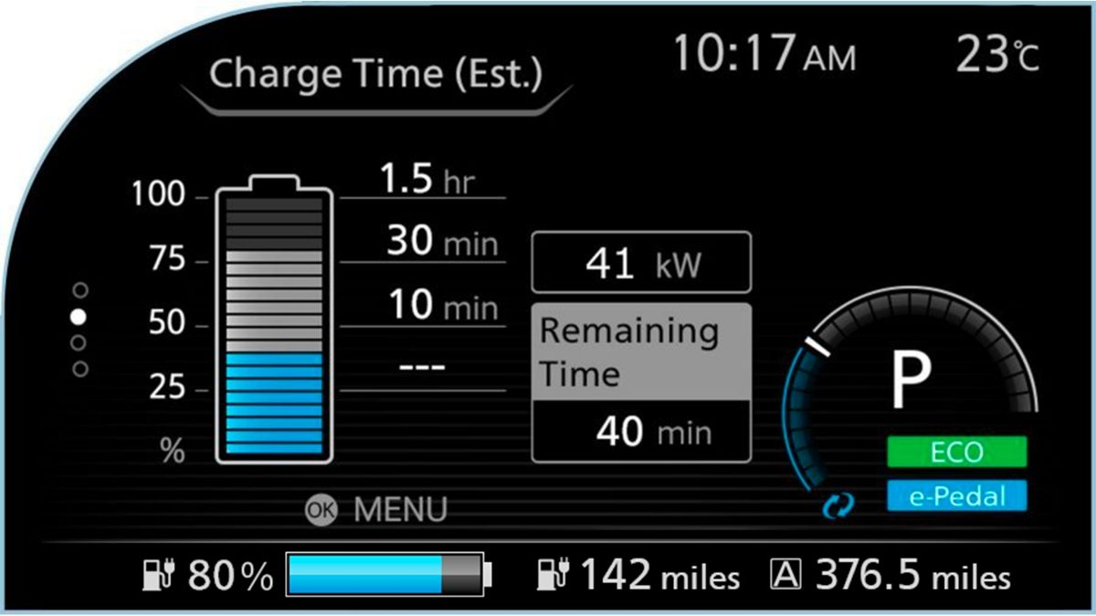 Nissan LEAF charge time screen