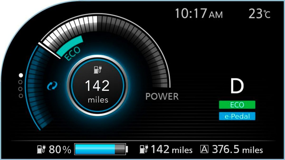 Nissan LEAF trip computer screen