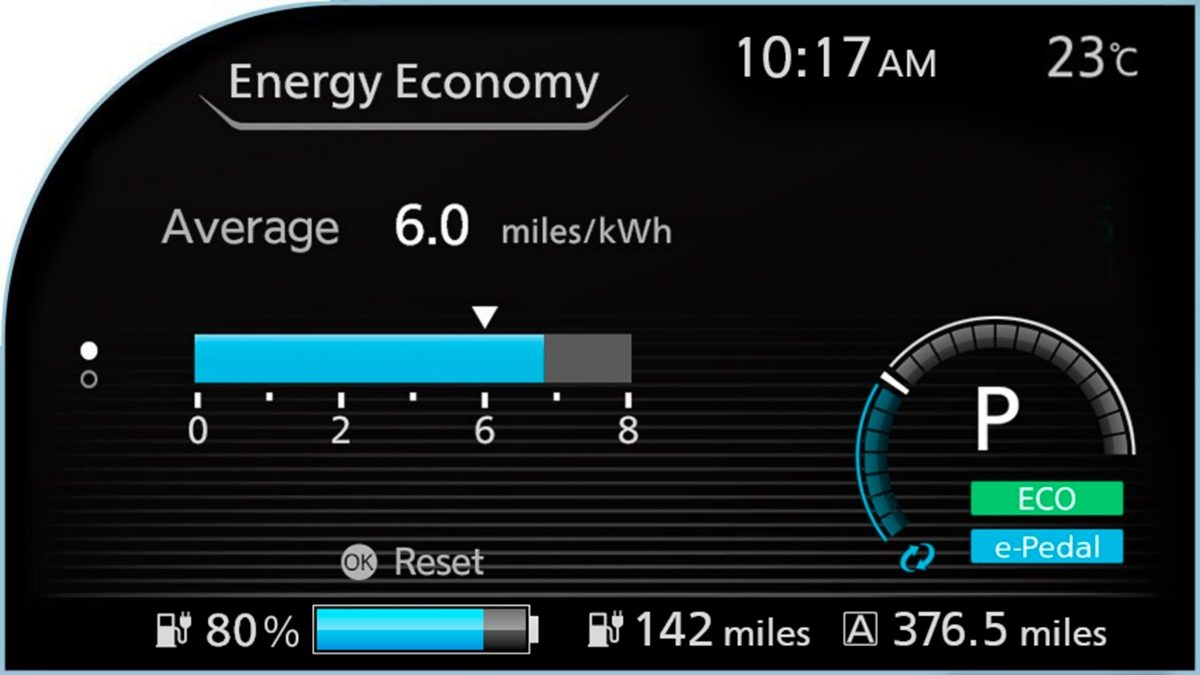 Nissan LEAF fuel economy screen