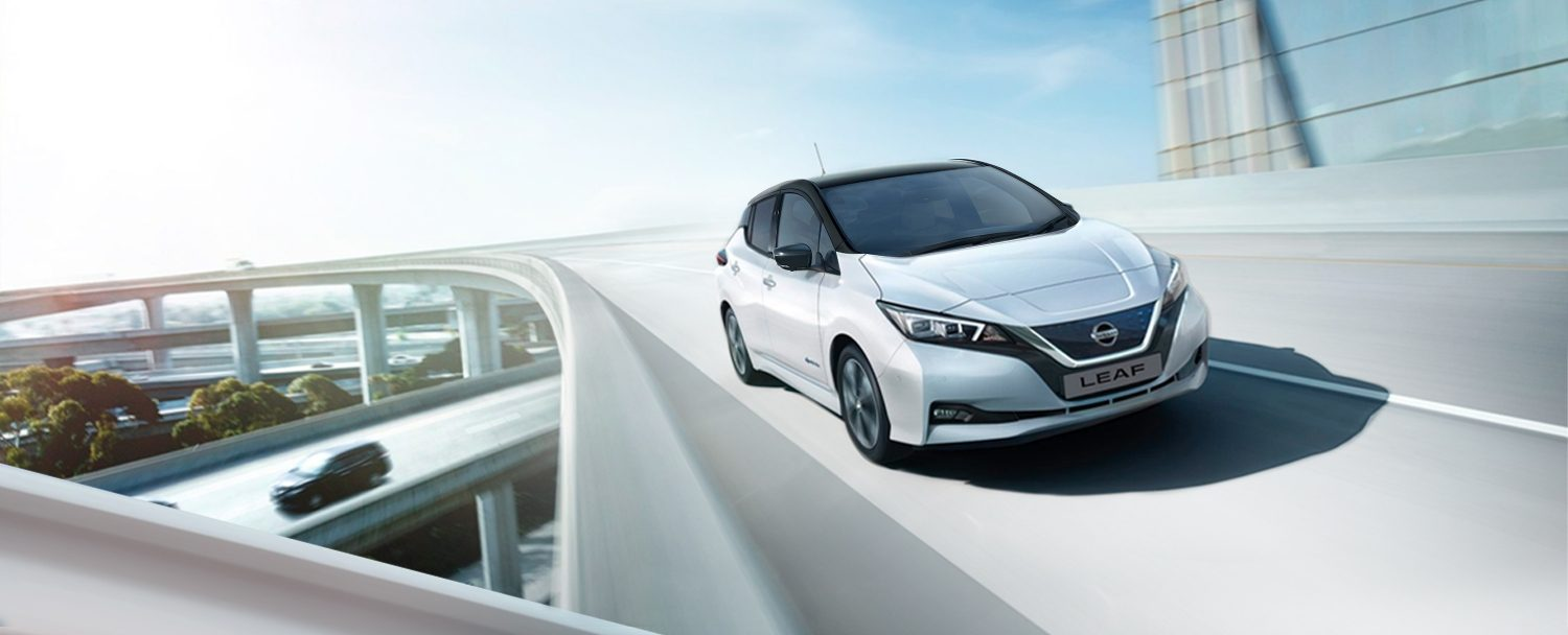 Nissan LEAF driving on a bridge with e-pedal icon