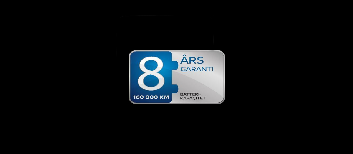 Emblem for Nissans 8-års garanti på batterikapaciteten
