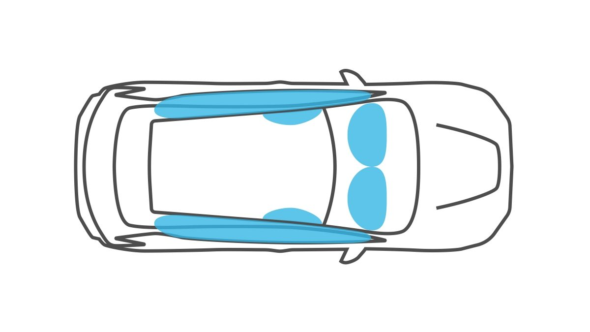 Illustration des airbags de la Nissan LEAF