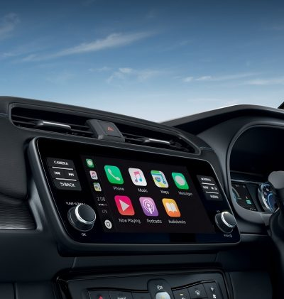 Nissan LEAF 3/4 interior view of the console with app screen