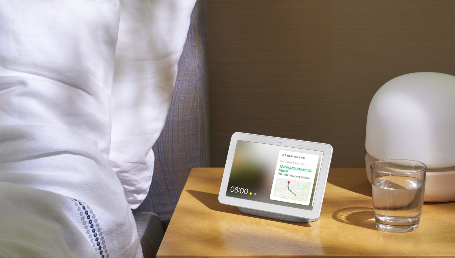 tablet with google home on a nightstand