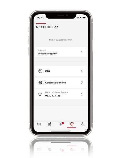 Nissan JUKE NissanConnect services app view of nissan help and support