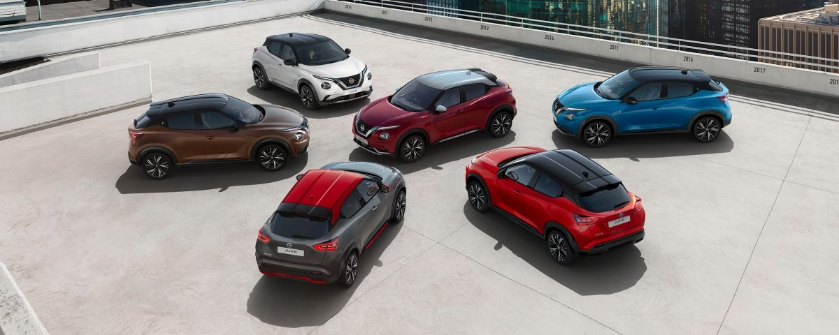 Nissan JUKE two-tone combination cars parked on a top floor of a car park