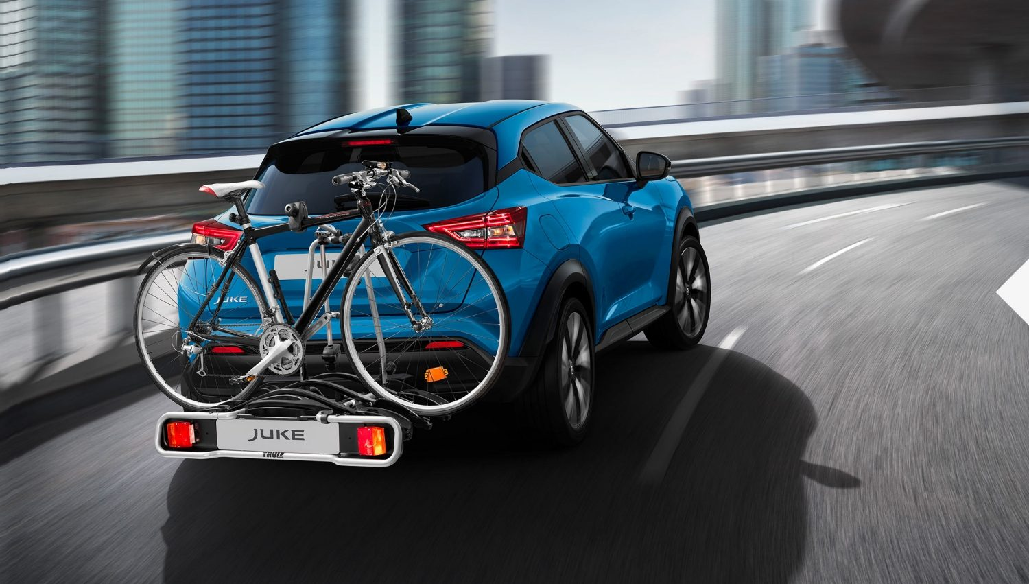 Juke with bike carrier.