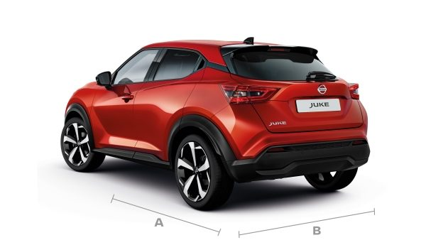 New Nissan JUKE 3/4 rear with dimensions