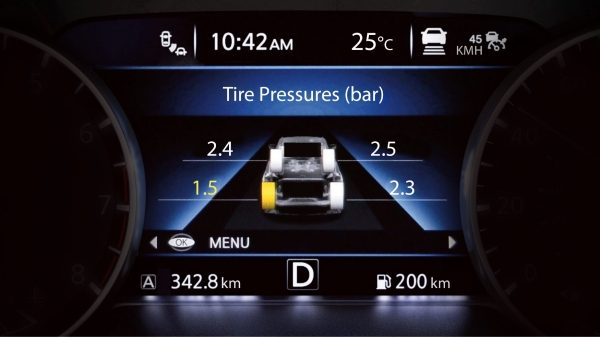 New Nissan JUKE tyre pressure monitoring system screen