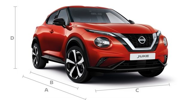Juke 3/4 front with dimensions.