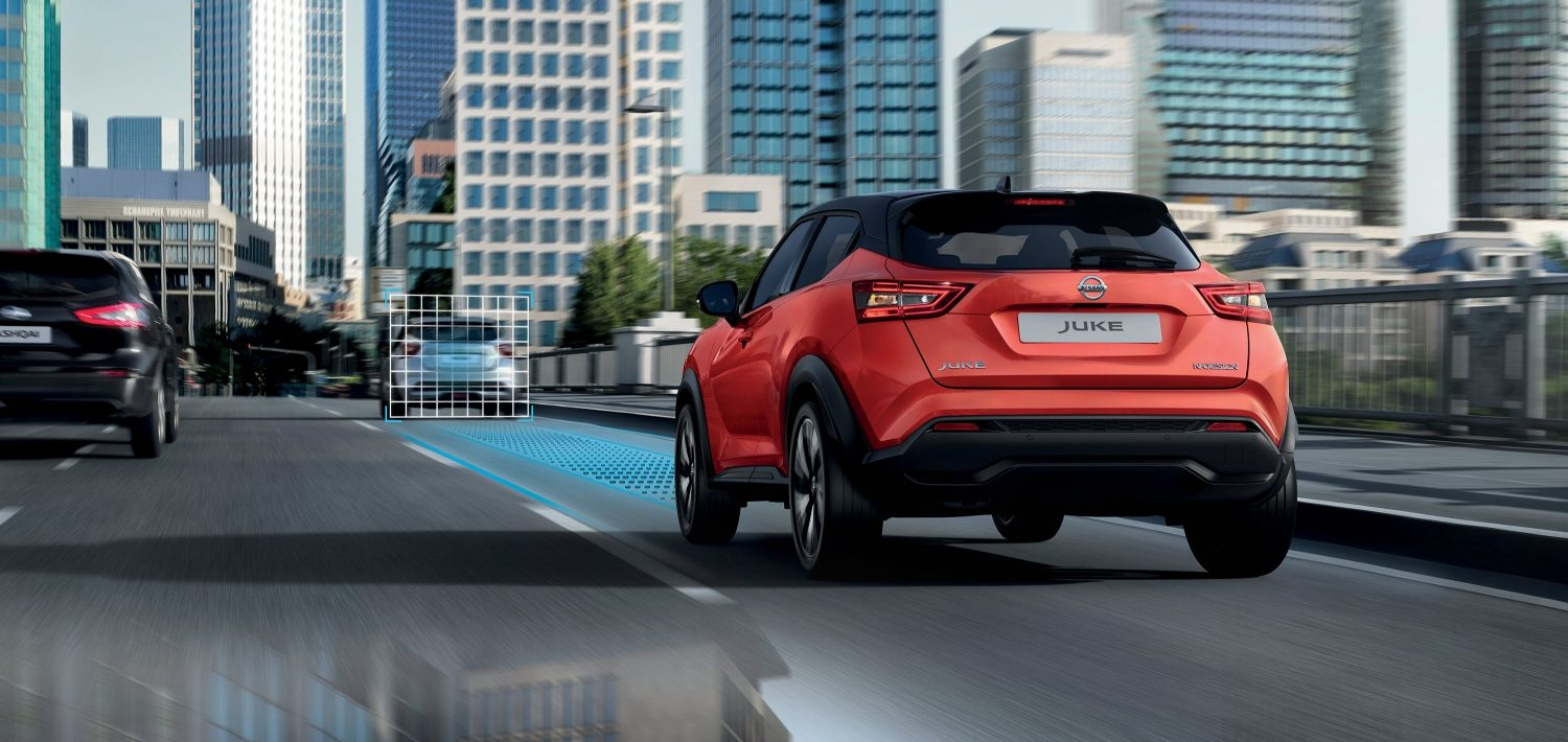 New Nissan JUKE rear driving shot with ProPILOT illustration