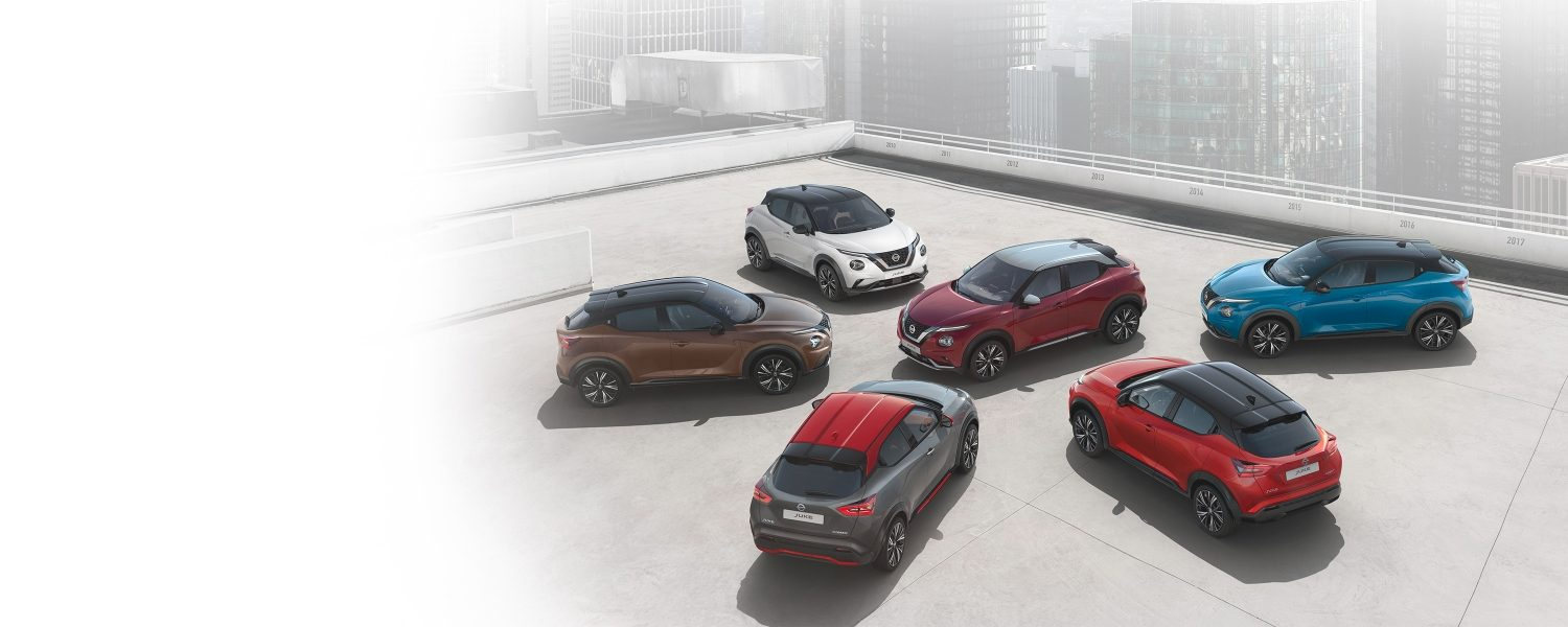 New Nissan JUKE cars showing different color combinations