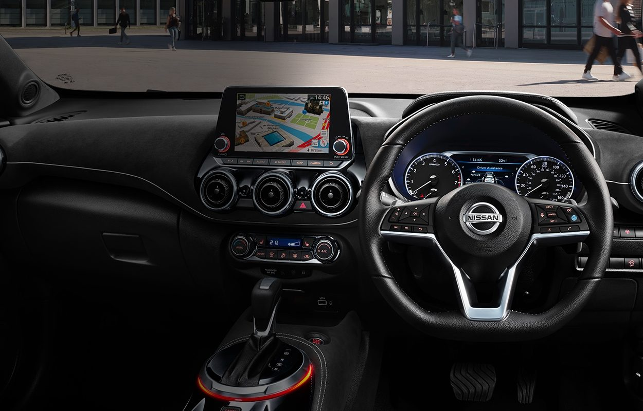Nissan JUKE interior view of the dashboard