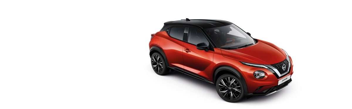 Nissan JUKE 3/4 front high packshot with fuji sunset bodycolor and black metallic roof