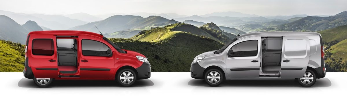 Nissan NV250 VAN L1 red profile and VAN L2 grey profile with mountain background