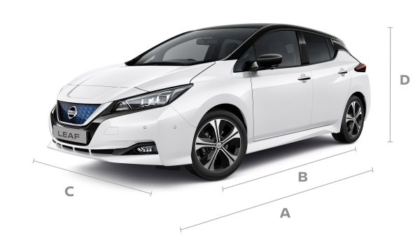 Nissan LEAF 3/4 front with lines for dimensions