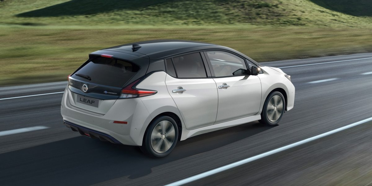 Nissan Leaf rear driving shot on open road