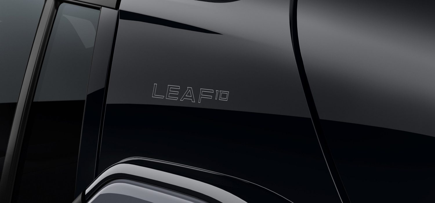 Nissan Leaf 10th subtle LEAF 10th branding