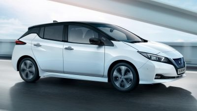 Nissan LEAF profile view driving-on a bridge