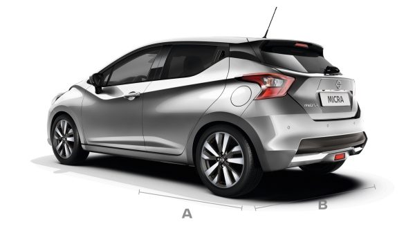 Nissan Micra back showing dimension