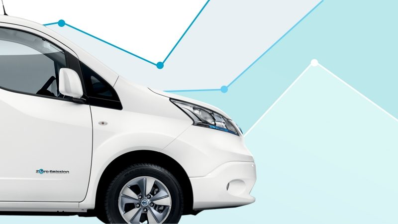 New Nissan e-NV200 Evalia parked close to wind turbines