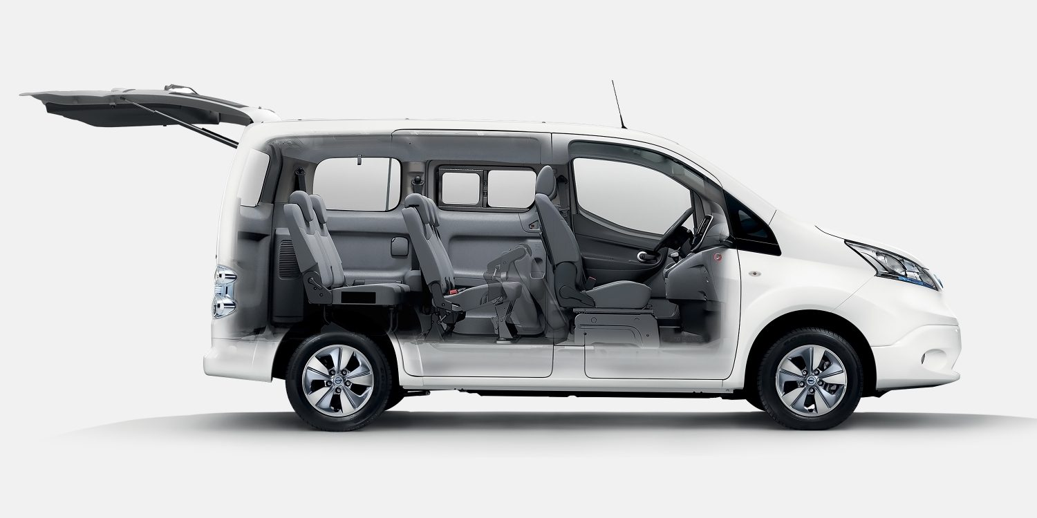 nissan e nv200 evalia voiture lectrique 7 places et ludospace nissan. Black Bedroom Furniture Sets. Home Design Ideas