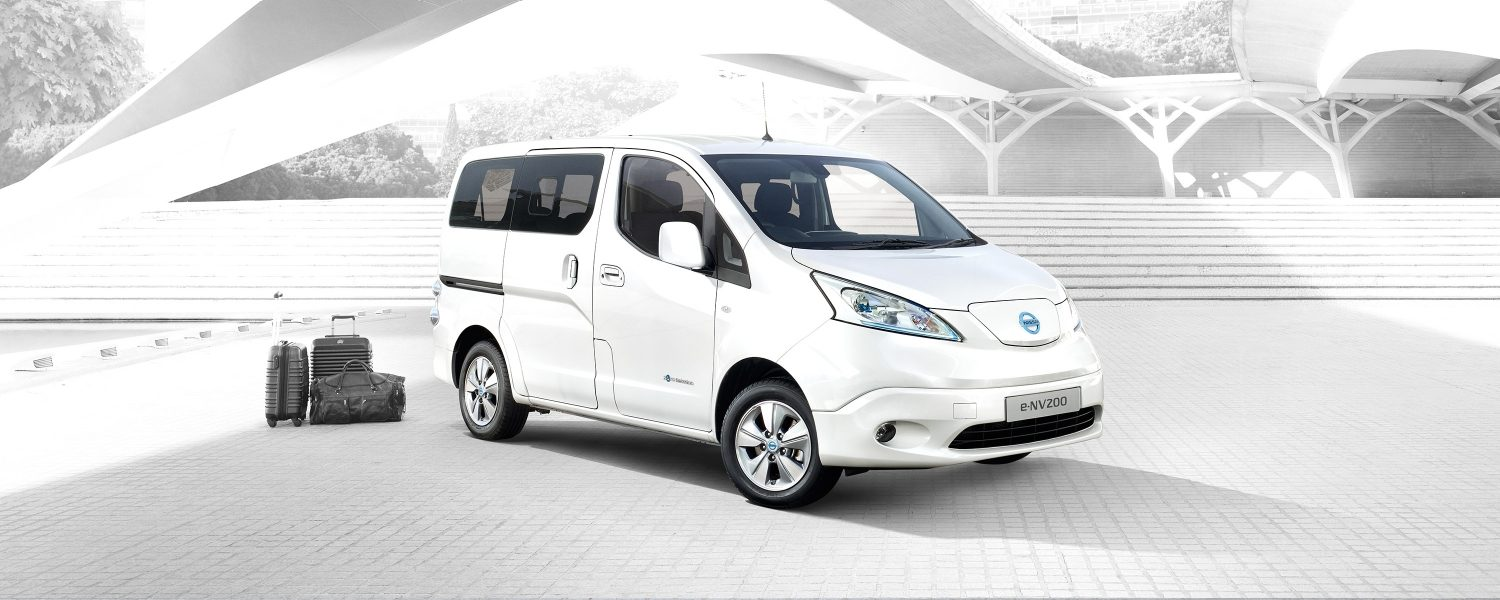 New Nissan e-NV200 COMBI parked in the city