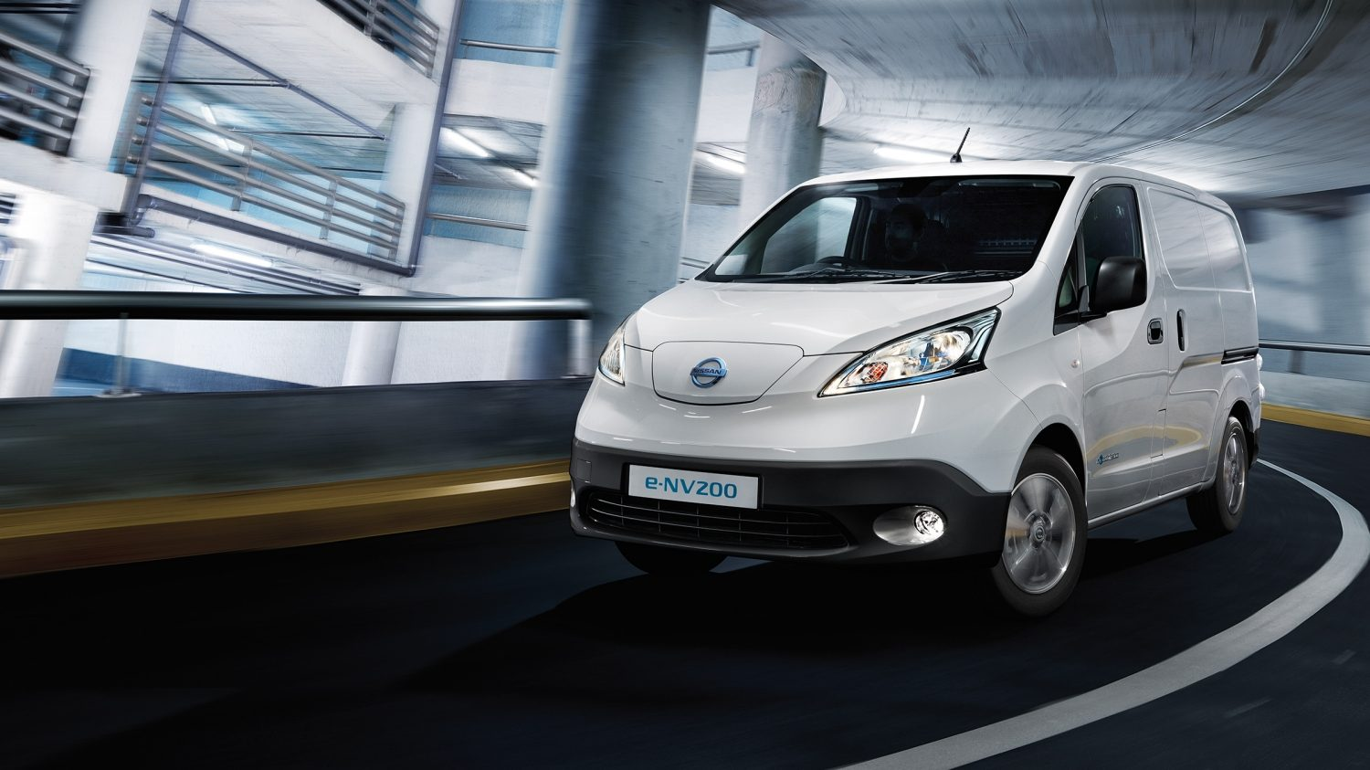 New Nissan e-NV200 VAN driving in a parking
