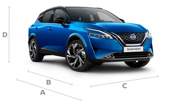 Nissan QQ Blue packshot with dimensions