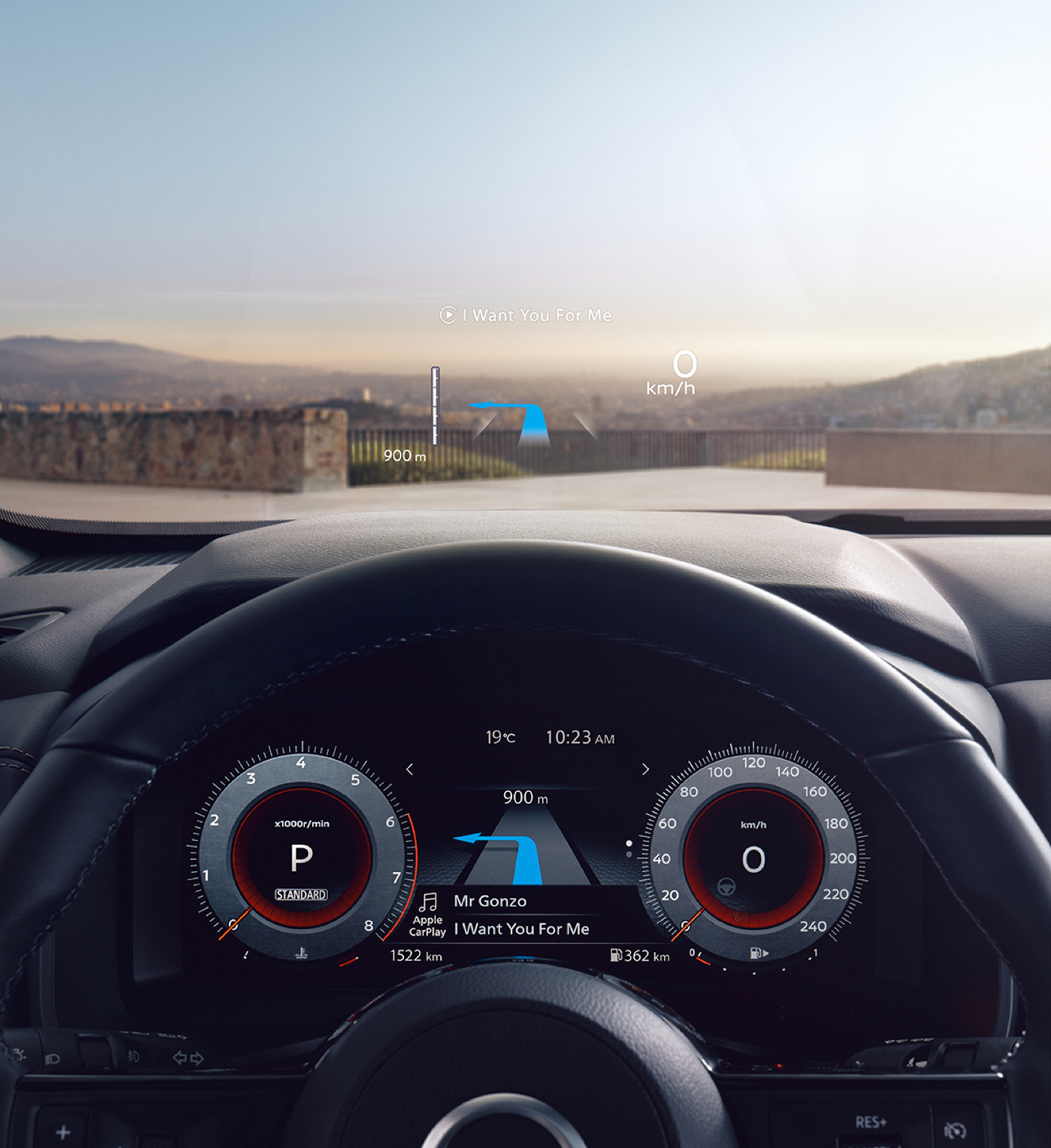 Nissan Qashqai detalizēts informācijas panelis.