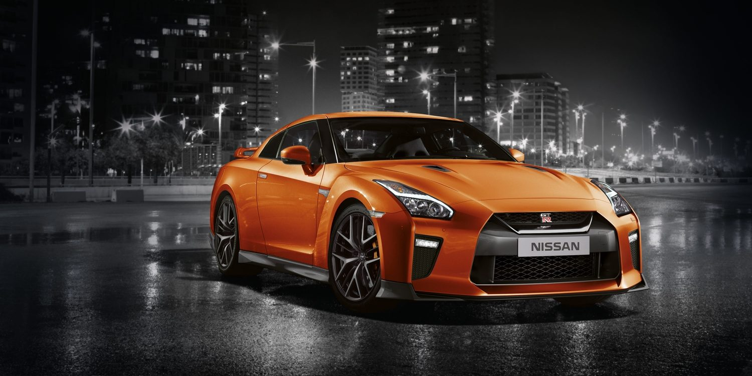 New GT-R front shot with city background