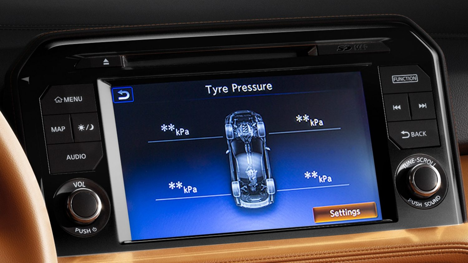 tyre Pressure Monitoring System Screen