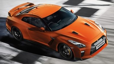 Nissan New GT-R high angle on race track